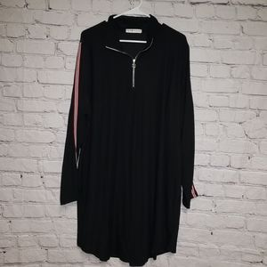 NWT Eye Candy Quarter Zip Tuxedo Strip Dress
